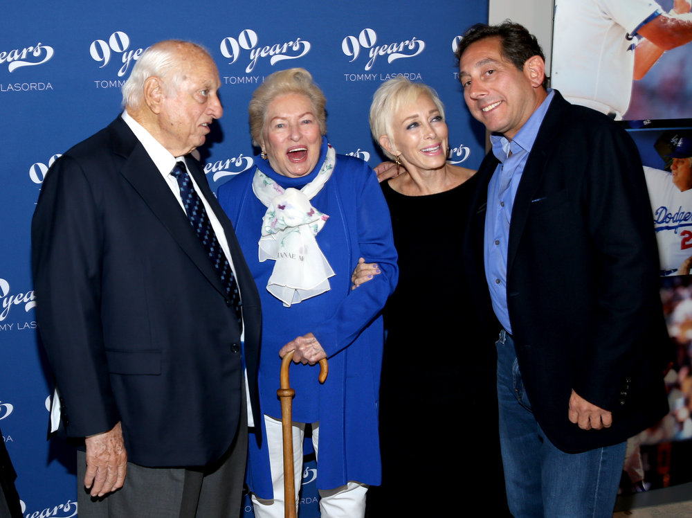 Tommy, Jo & Laura Lasorda with Warren Lichtenstein at Tommy Lasorda's 90th Birthday Celebration