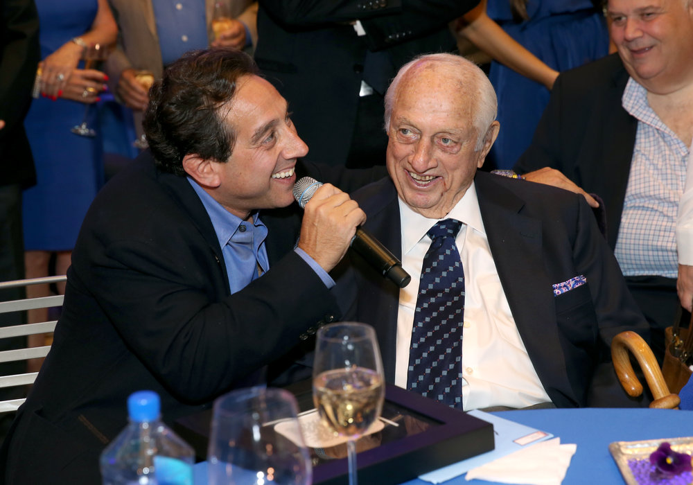 Warren Lichtenstein & Tommy Lasorda speaking at Lasorda's 90th Birthday at the Getty Center