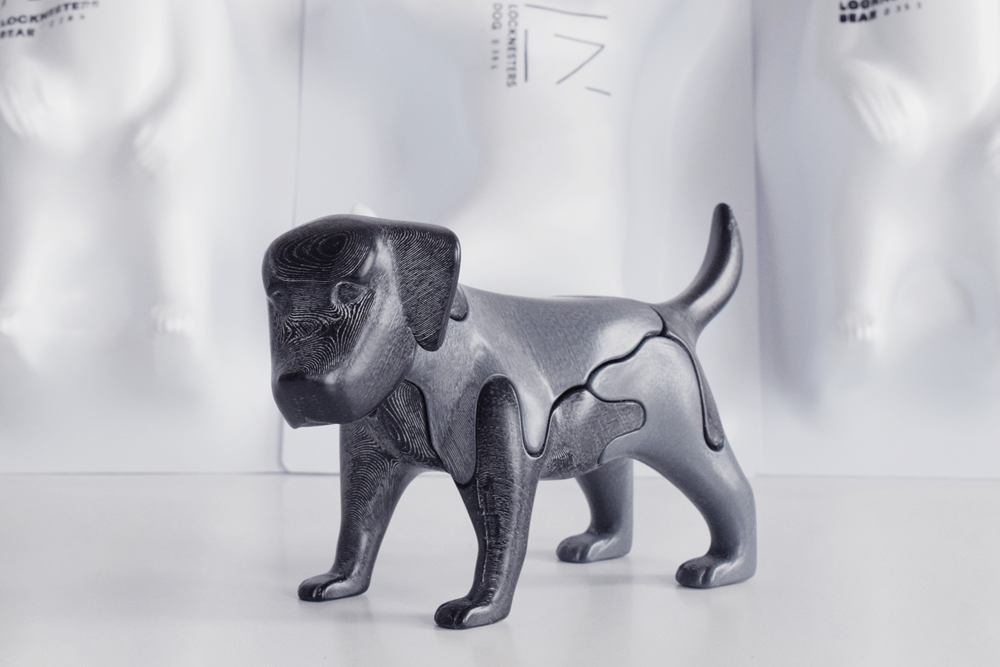 #3 3D Printed Dog Puzzle - This 3D printed dog puzzle by Locknesters is both a beautiful and fun home object for any dog enthusiast. Available Online.$120 (Large Dog Puzzle)