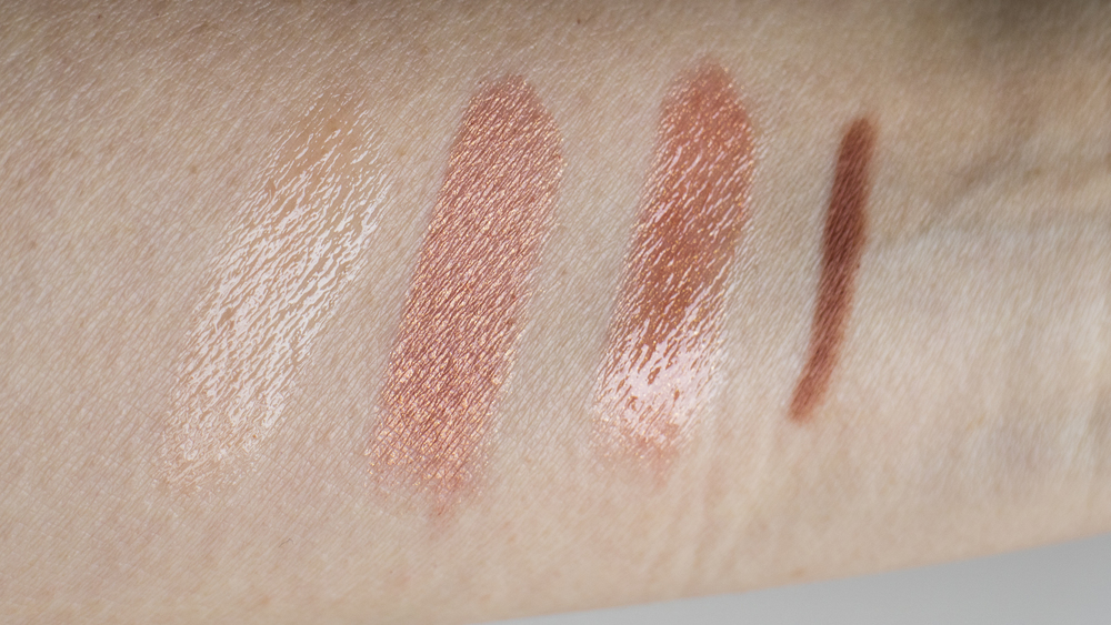 From L to R: Lancome Juicy Shaker in Show Me The Honey, Lipstick Queen Nude Metal, the Show Me The Honey on top of the Nude Metal, Marc Jacobs (P)outliner in (Nude)ist