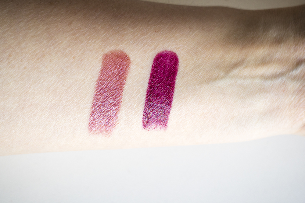 From L to R: Tom Ford Lip Color in Velvet Orchid, Black Orchid