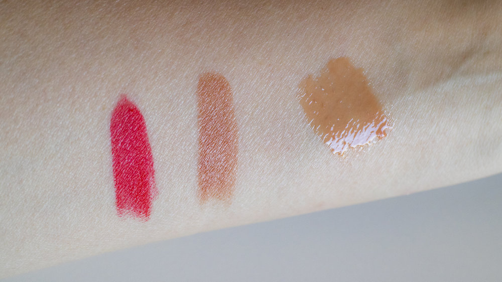 Lipstick and Lip Gloss swatches, from L: Chilean Sunset, Brazilian Nude, Moroccan Heat