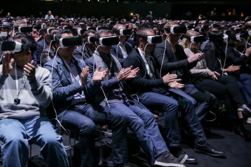 Crowd enjoying 360˚ VR headsets