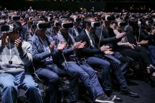 Crowd enjoying 360˚ VR headsets