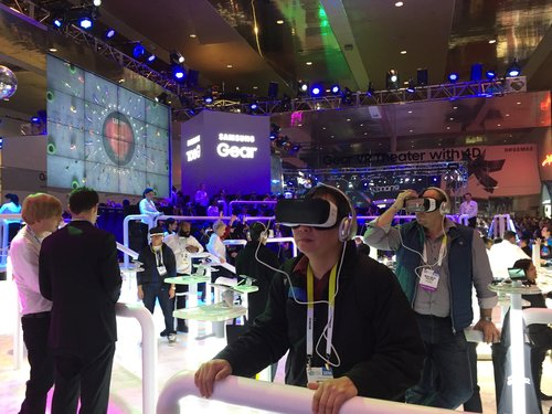 360˚ VR headsets at an event booth