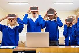 Kids trying Google Expedition Kit