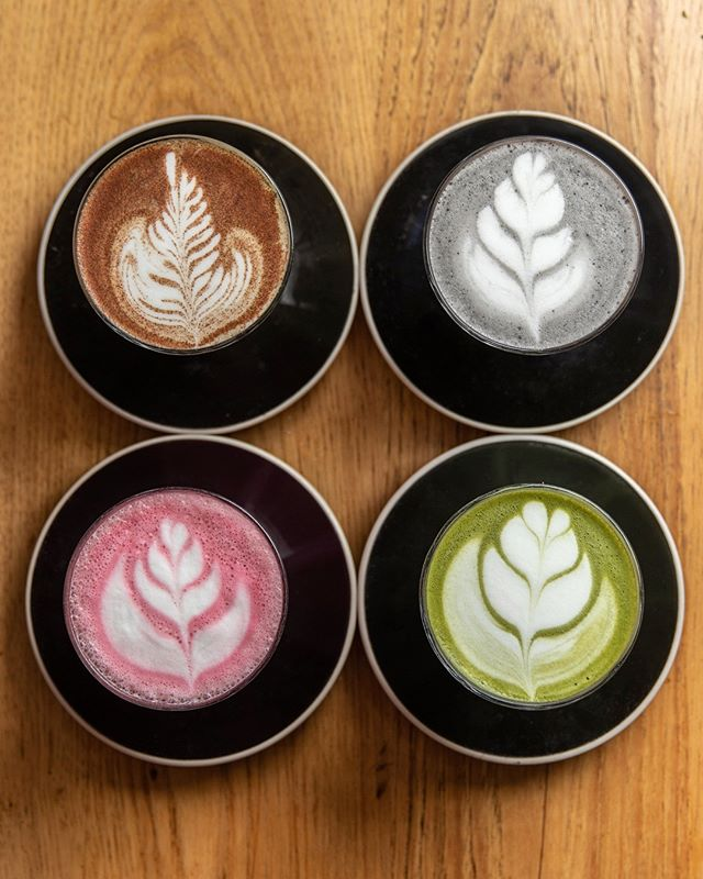 Pick your poison. Cacao & Coconut Turmeric Latte Matcha Latte Beetroot Ginger Latte Activated Charcoal Latte