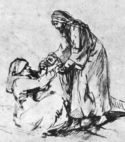 Jesus heals Peter's mother-in-law, Rembrandt sketch