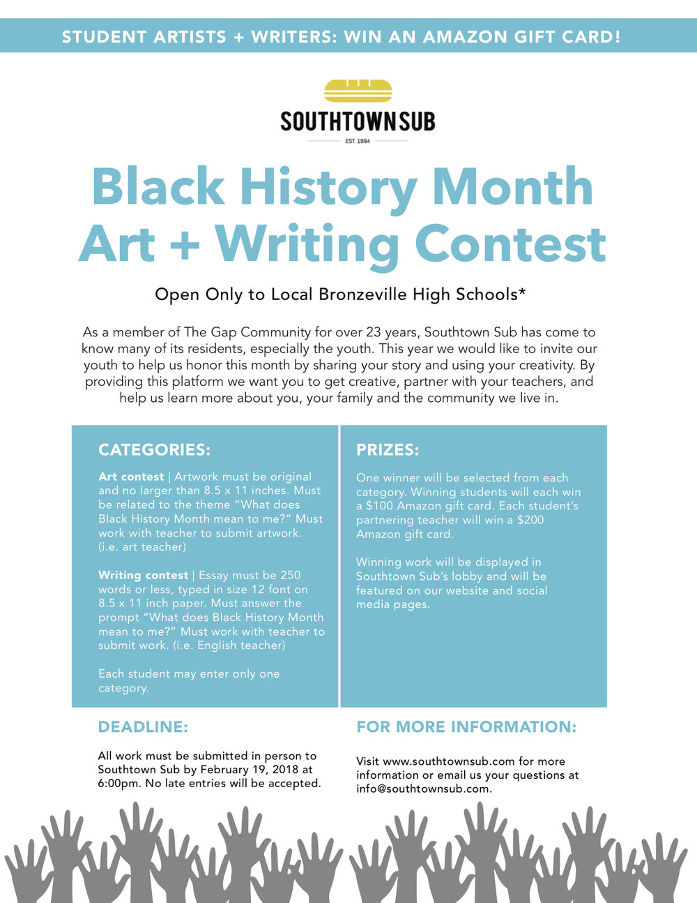 Southtown Sub Black History Month Art Writing Contest Southtown Sub
