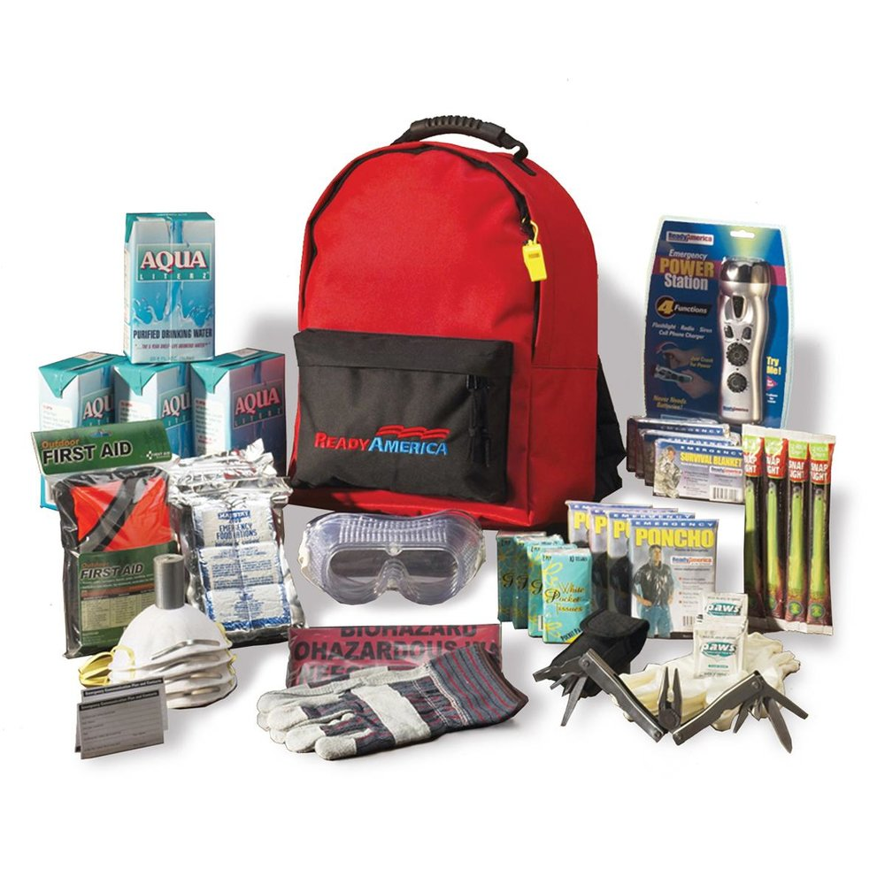 The Ready America 70380 Essentials Emergency Kit 4 Person 3-Day Backpack