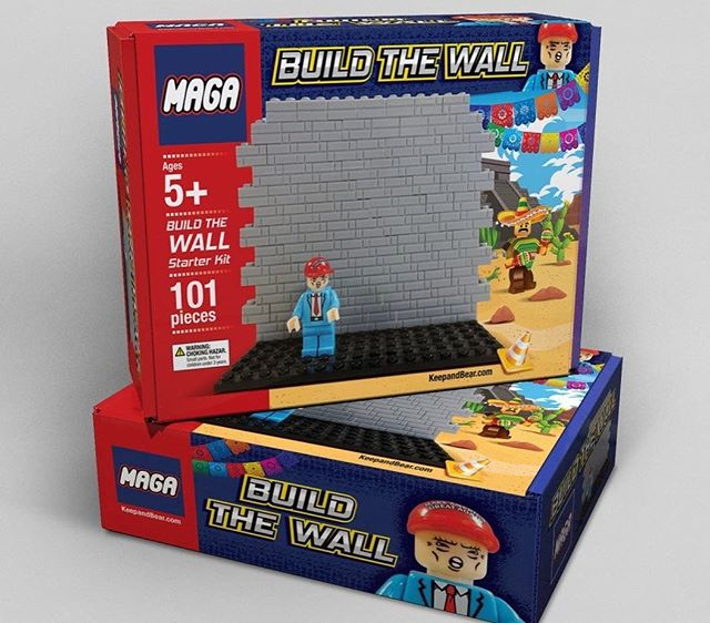 MAGA Build the Wall knockoff LEGO set manufactured by KeepAndBear $29.95. America, 2018 #toy #maga #wall #children #play #immigration #politics #america #knockoff #trump #2018