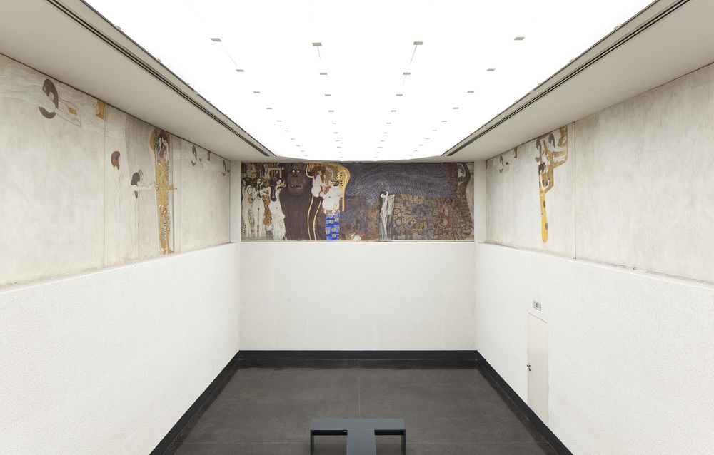 View of the room in Vienna, Austria with Klimt's Beethoven Frieze