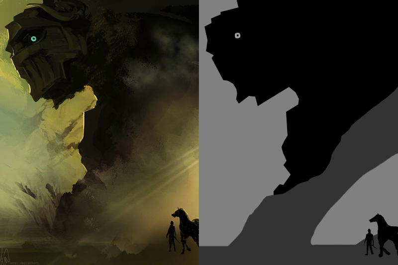 "Shadow of the Collosus Concept Art - This was the first one I attempted, and let me tell you, my first go round, I painted in his whole face with mid-values, and in the end took them out because it just took away from the scene. The important thing here is the scale, the eye, not knowing if we are seen or not. The silhouette communicates ""large monster face"" enough without all of the (though awesome) interior detail."