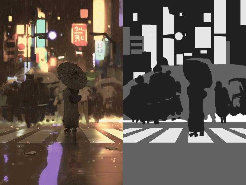 "Atey Ghailan - Wow, this was tricky. What I loved discovering in doing this study, was how the artist neatly placed clumps of people in dark clothing on either side, and light colored clothing in the middle to help make the silhouette of the main character really stand out. It was also fun to discover that the crosswalk lines are absolutely necessary. I was struggling with how abstract the blurred but blocky lighting was, and how it was hard to tell the ""Where"" of this image, the crosswalk lines fix that, and immediately communicate street, even with all the weird abstract blocks of light."