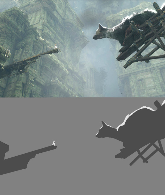 The Last Guardian - I was so tempted to put more marks for the background, but it really is almost all middle value. In the end, the scene is about their communication, and any time I tried to put more information in, it took away from the central story. It also made me realize that in this mostly grey toned game, without that atmosphere the player and Trico might be lost. The attention to lighting makes this...am so in love with this game right now.