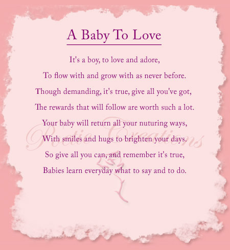 Inspirational Baby Shower Poem A Baby To Love Poetic Creations