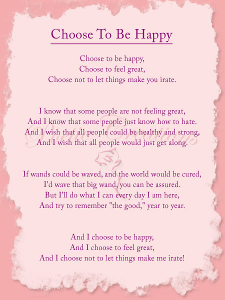 Inspirational Poem Choose To Be Happy Poetic Creations
