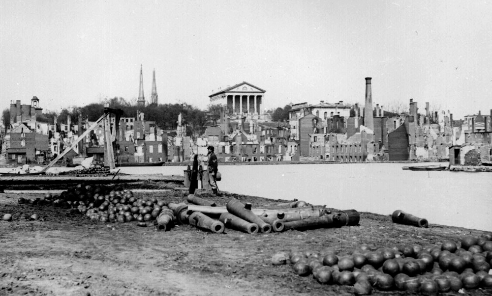 Jefferson's Virginia State Capitol in Richmond as seen rising above the ruins of the Civil War's Battle of Richmond. Public domain photograph courtesy U.S. National Archives.