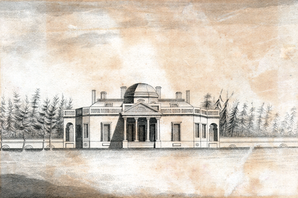 Jefferson's Monticello. Public domain image courtesy New York Public Library Digital Collections.