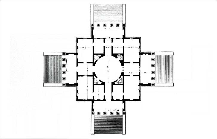 A section of Palladio's plan for Villa La Rotonda. Public domain image courtesy Wikimedia Commons.