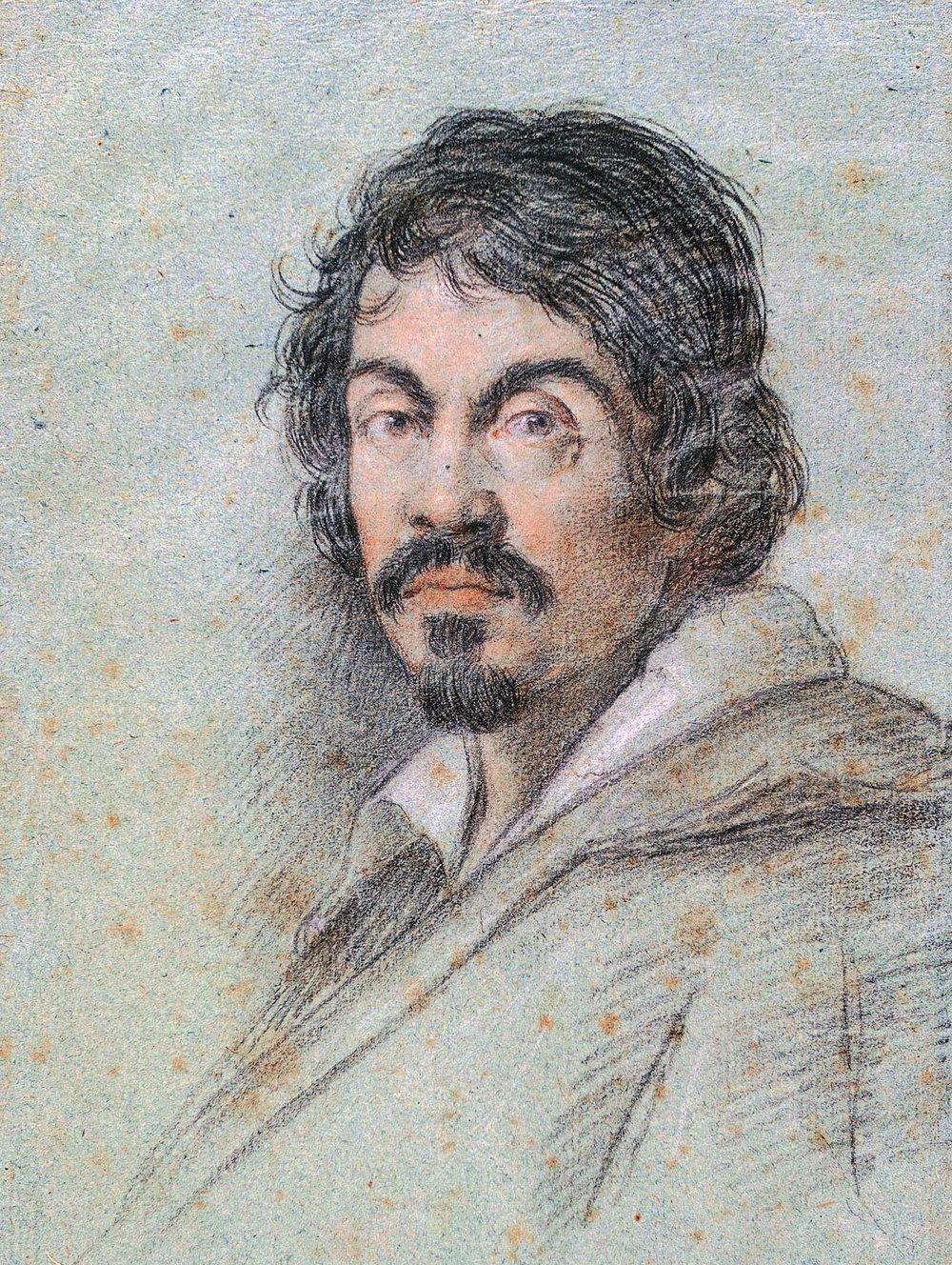 Caravaggio (c. 1621) by Ottavio Leoni, public domain from Wikimedia.