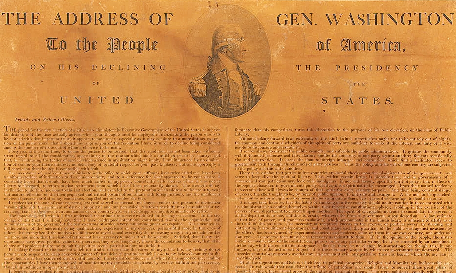 Washington's Farewell Address, from Wikimedia.