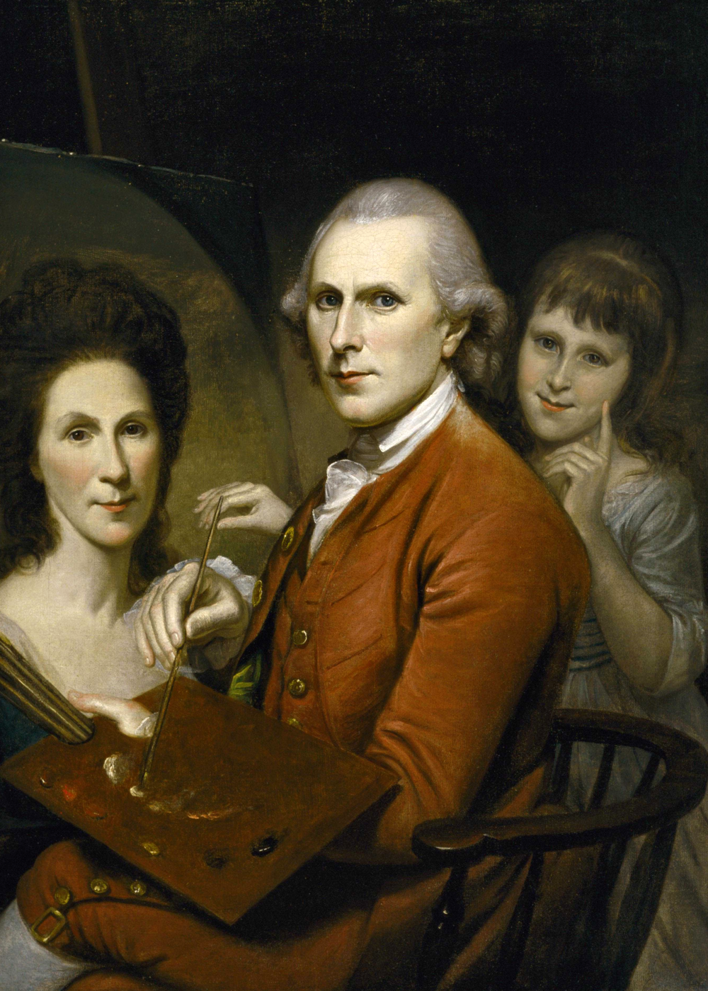 Charles Willson Peale. Self-Portrait with Angelica and Portrait of Rachel, c. 1782-1785 Public domain image from Wikimedia.