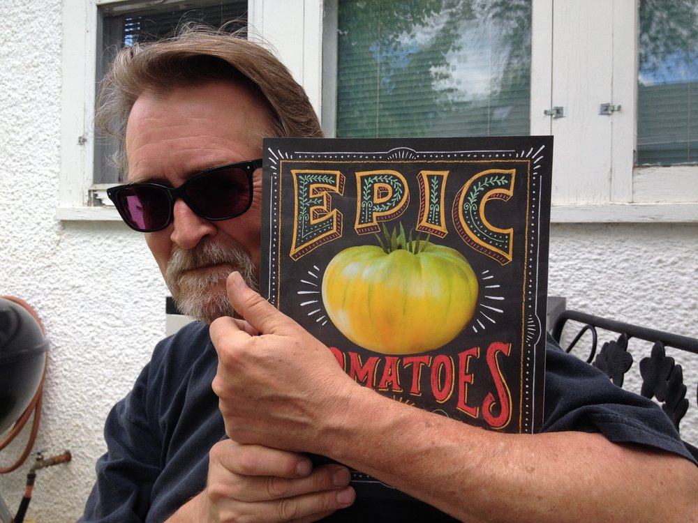 David Swenson in 2015 with his copy of  Epic Tomatoes .