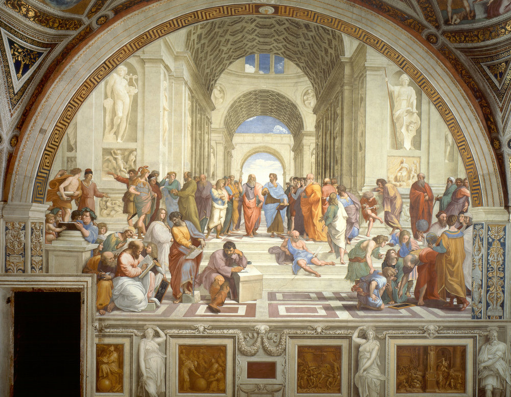 The School of Athens  by Raffaello Sanzio da Urbino via Wikimedia. Click to enlarge.