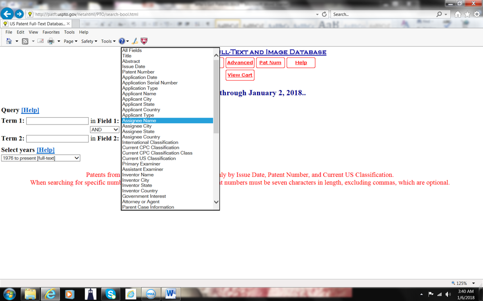 USPTO Screenshot 1 - Assignee Name