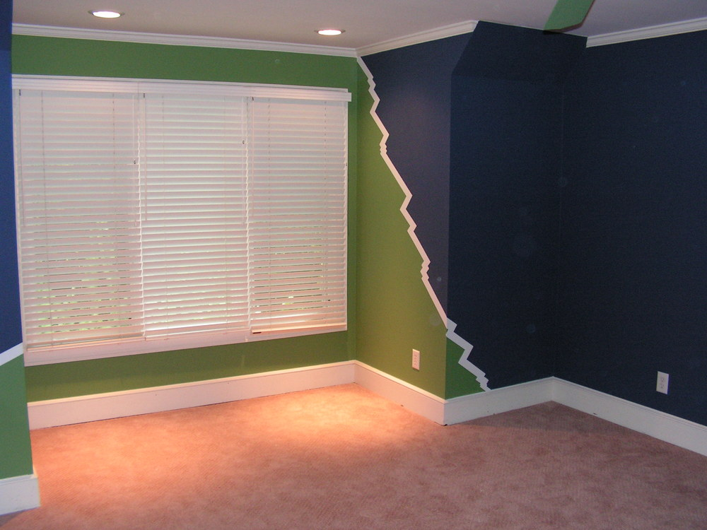Interior painting of boy's large bedroom in Augusta, Georgia.