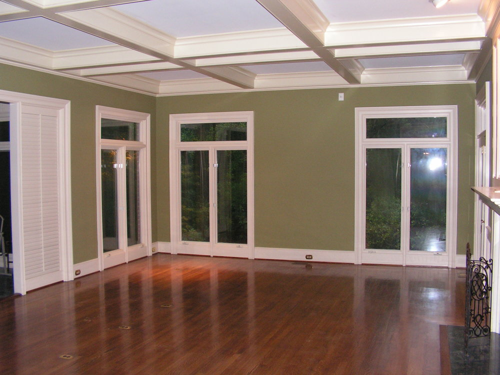 Interior painting project of a large living room in Augusta, Georgia.