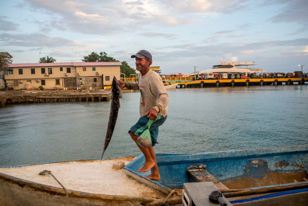 """Back at the dock in Utila. He holds the fish up, grinning and showing off to his friends on shore, who hooted and hollered as he stepped off his boat. The size comparison is telling. The barracuda only lacks about 6 inches on Sorro himself—a short man of about 5'6""""."""