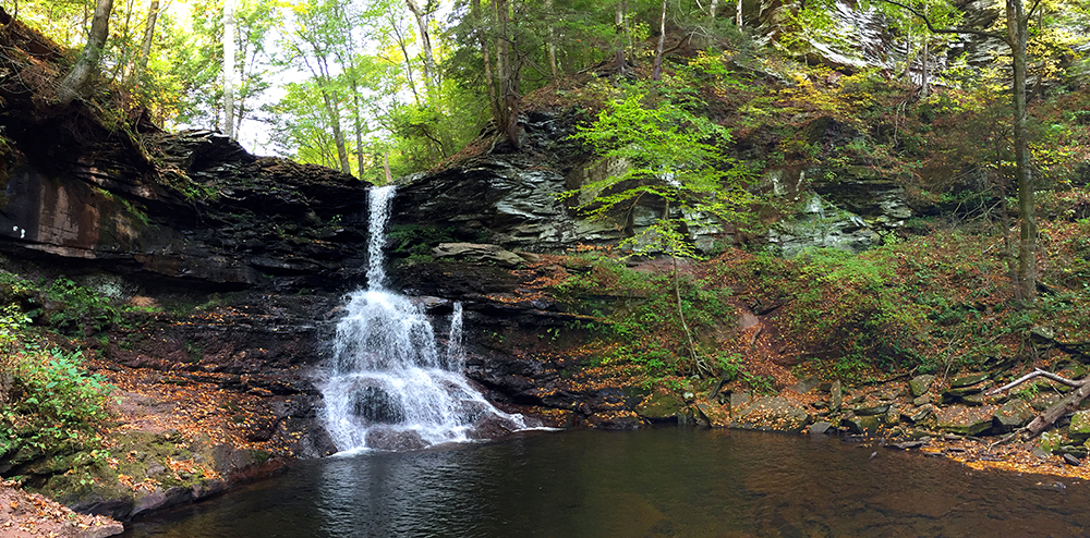 Sheldon Reynolds waterfall, the second in Ricketts Glen on the Falls Trail System. To give you a sense of scale in this photo, these falls are 36'.