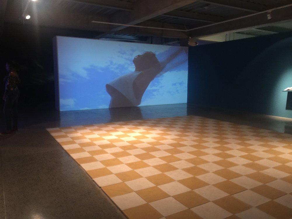 Video installation with dance floor