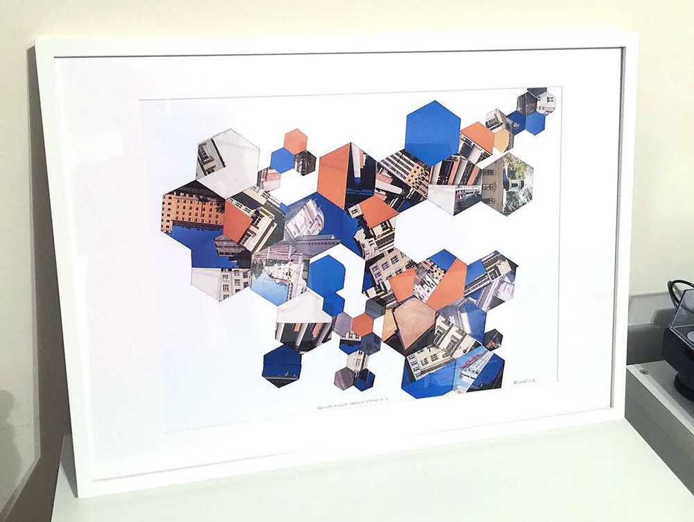 """I created a set of the """"Helsinki, Finland: Hexagon Derivative"""" series, all framed at 20""""x28"""", and ready for exhibition. I'm thinking of putting these pieces for sale in my Etsy store as the edition size is more suitable for private collections and home display."""
