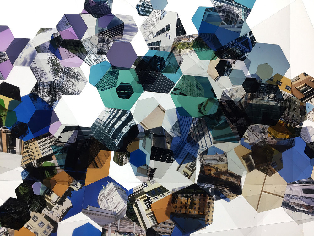 """A photoshoot for the """"Helsinki, Finland: Hexagon Derivative"""" series, where I pulled out all the compositions and photographed them on the light table. Theres some cool randomness happening in these photos."""
