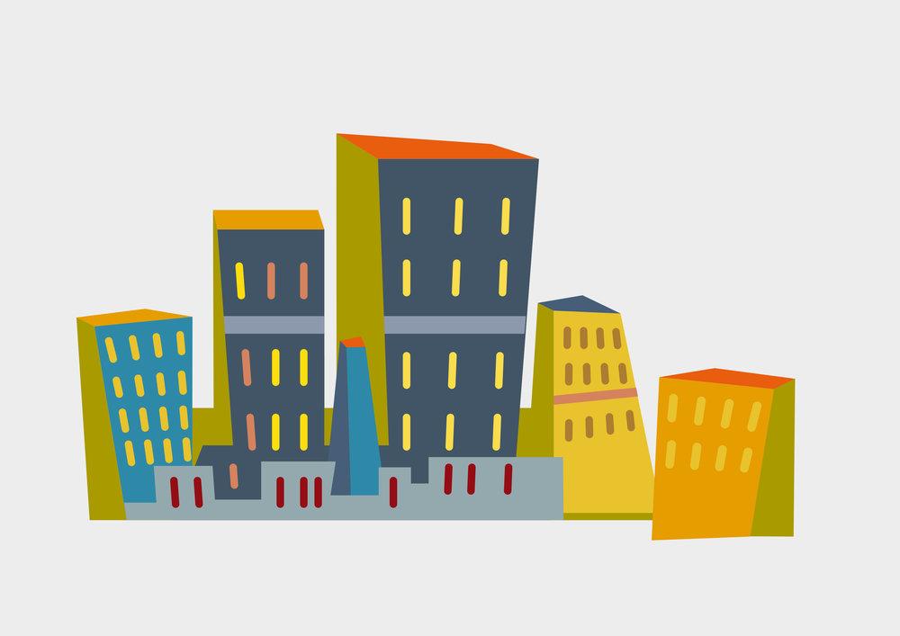 »Stadt«  ILLUSTRATION // Deutscher Sparkassen Verlag – Planspiel Börse