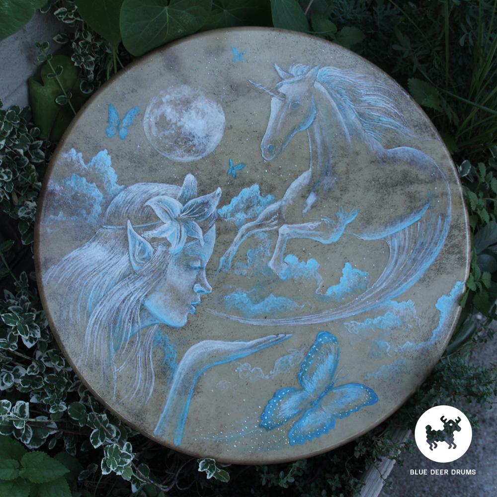 blue-deer-drums-painting-brooklyn-shamanic-sound-healing-bath-workshop-bag-ceremony-drumstick-spirit-jani-unicorn-butterfly