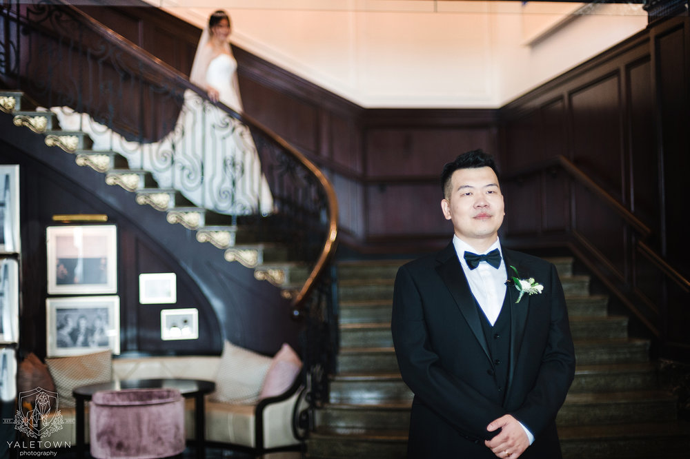 Bride-Groom-First-Look-Rosewood-Hotel-Georgia-Vancouver-Wedding-Yaletown-Photography-photo