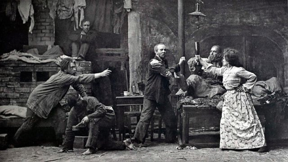 Stanislavski (far left) in The Lower Depths at The Moscow Art Theatre,1902 Credit: Stanislavski Centre/ArenaPal