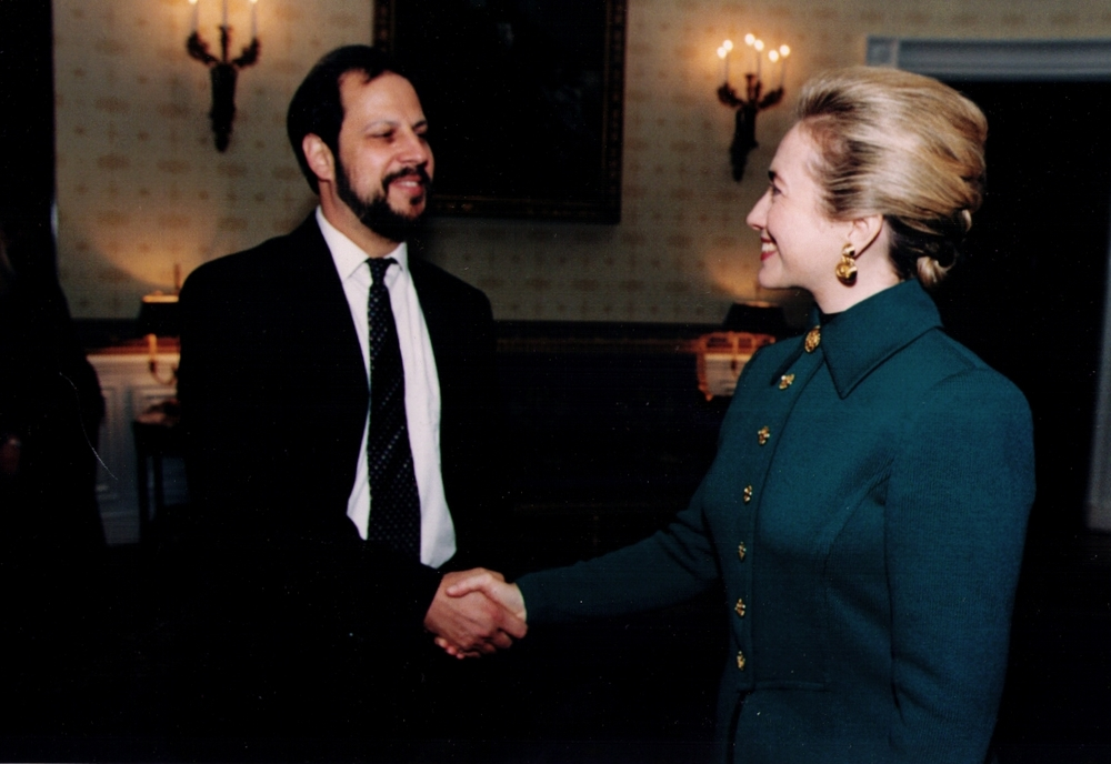 Jeff Katz with Hillary Clinton at the White House in 1995.