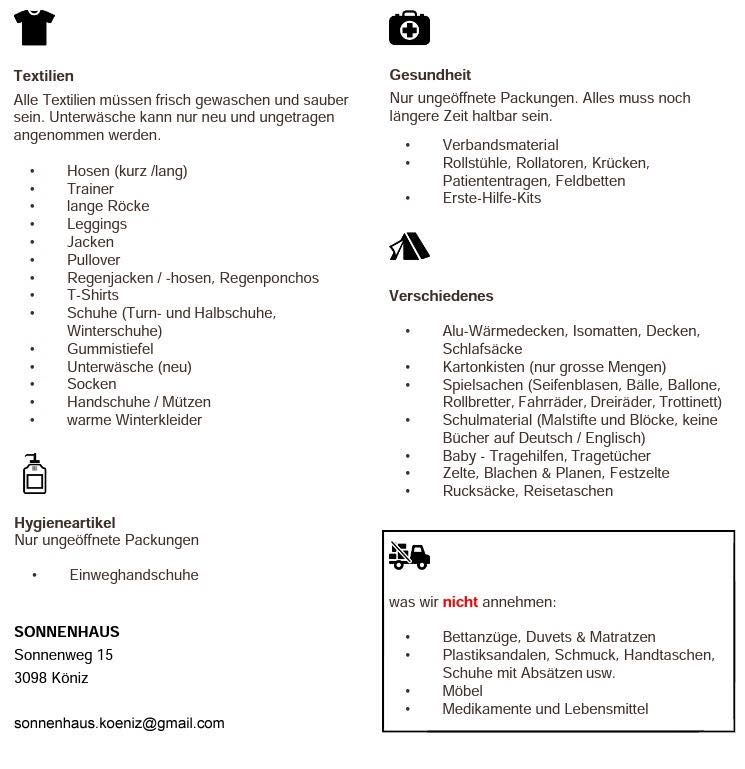 Hier eine Liste von all den Dingen, die wir entgegen nehmen können.