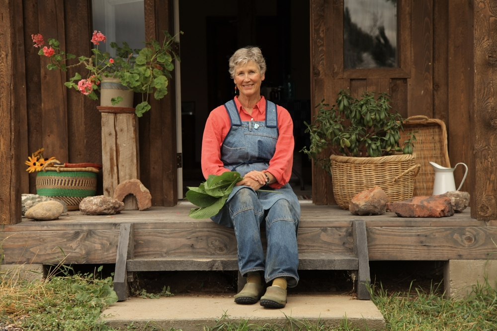 Lee Bennion on the steps of her workshop. Photo by Steve Olpin