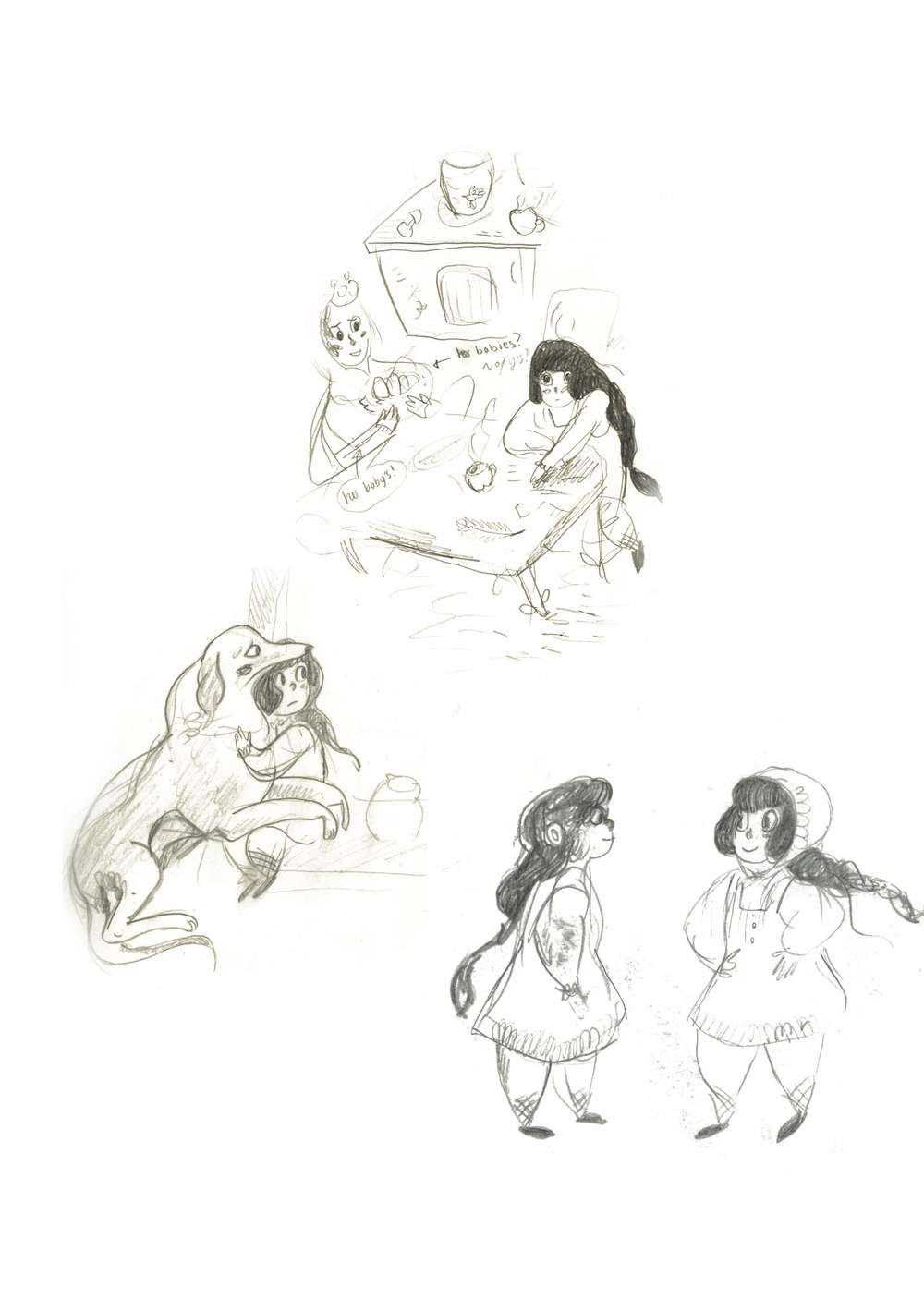 Some sketchbook work for 'Ivana and the Firebird'.