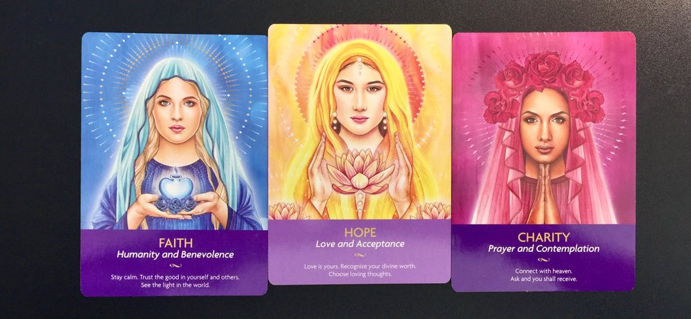 The 3 Virtues from the  Keepers of the Light Oracle deck by Kyle Gray .