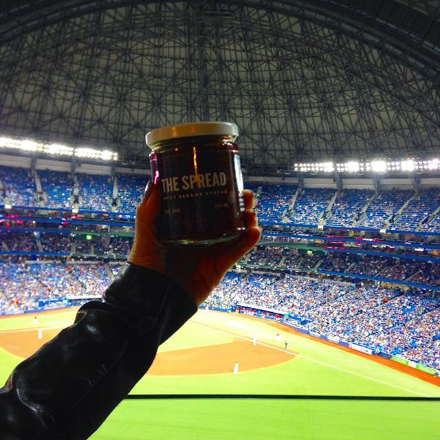 Baseball season is our favourite season here at #spreadquarters - so many delicious vessels for @thatsthespread ! . . . ⚾️🌭🍔 . . #itswhatyouwant #spreadheads #baseball #torontobluejays #hotdogs #summer #millertime #skydome #rogerscentre