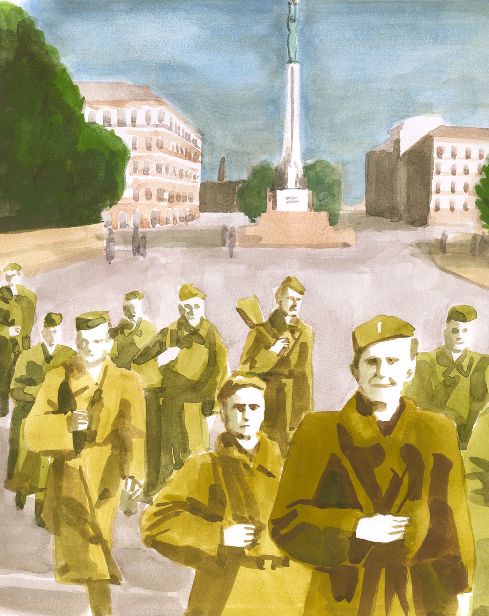 Red Army soldiers in front of the Latvian Freedom Monument, 1940