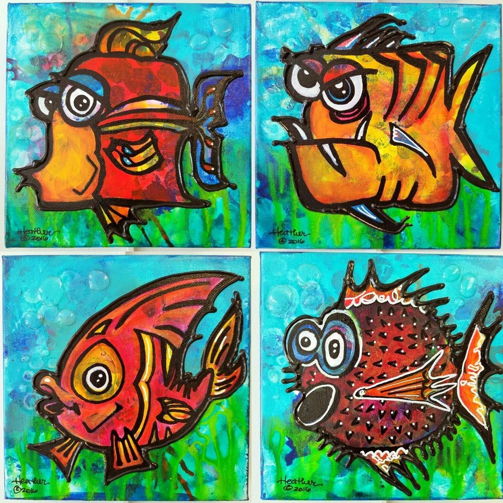 Mixed media painting Funky Fish art class.