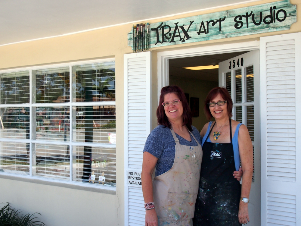Artists Heather Neiman and Tristina Dietz Elmes in front of the new Trax Art Studios.